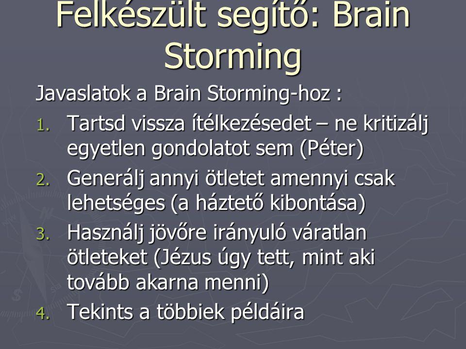 Felkészült segítő: Brain Storming Javaslatok a Brain Storming-hoz : 1. Tartsd vissza ítélkezésedet – ne kritizálj egyetlen gondolatot sem (Péter) 2. G
