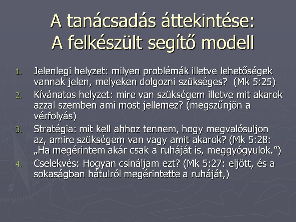 A tanácsadás áttekintése: A felkészült segítő modell 1. Jelenlegi helyzet: milyen problémák illetve lehetőségek vannak jelen, melyeken dolgozni szüksé