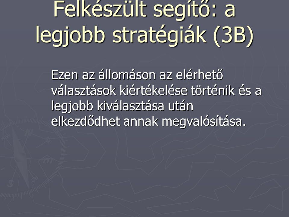Felkészült segítő: a legjobb stratégiák (3B) Ezen az állomáson az elérhető választások kiértékelése történik és a legjobb kiválasztása után elkezdődhe