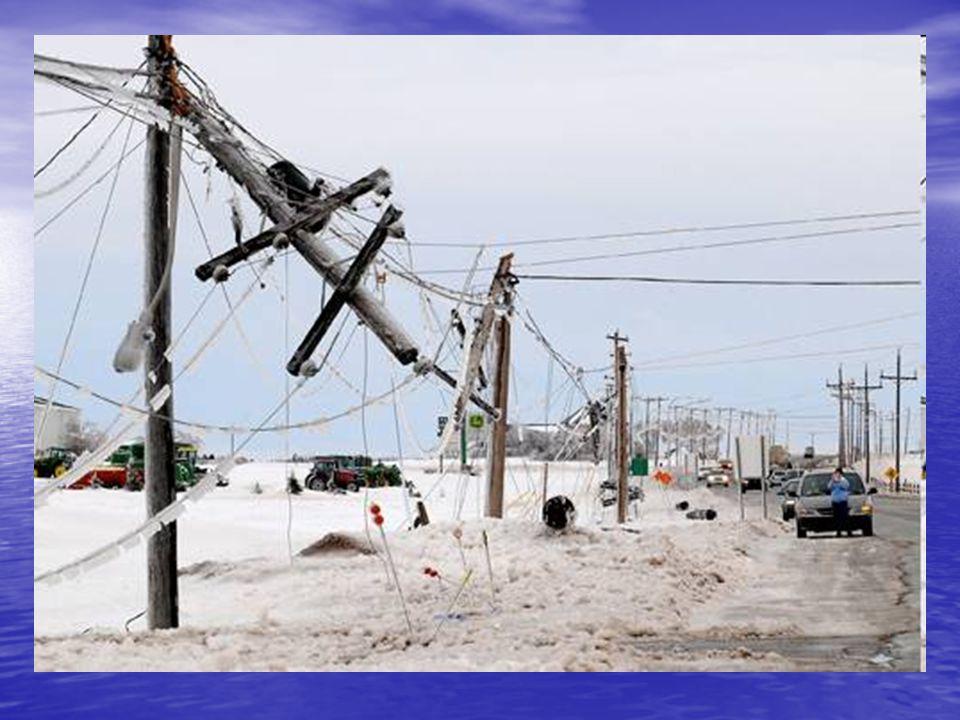 Ónos eső • A gondot a közlekedés ellehetetlenülése, illetve a légvezetékek szakadása jelenti. • A közlekedés két okból válik nehézzé: –Az út jégpálya