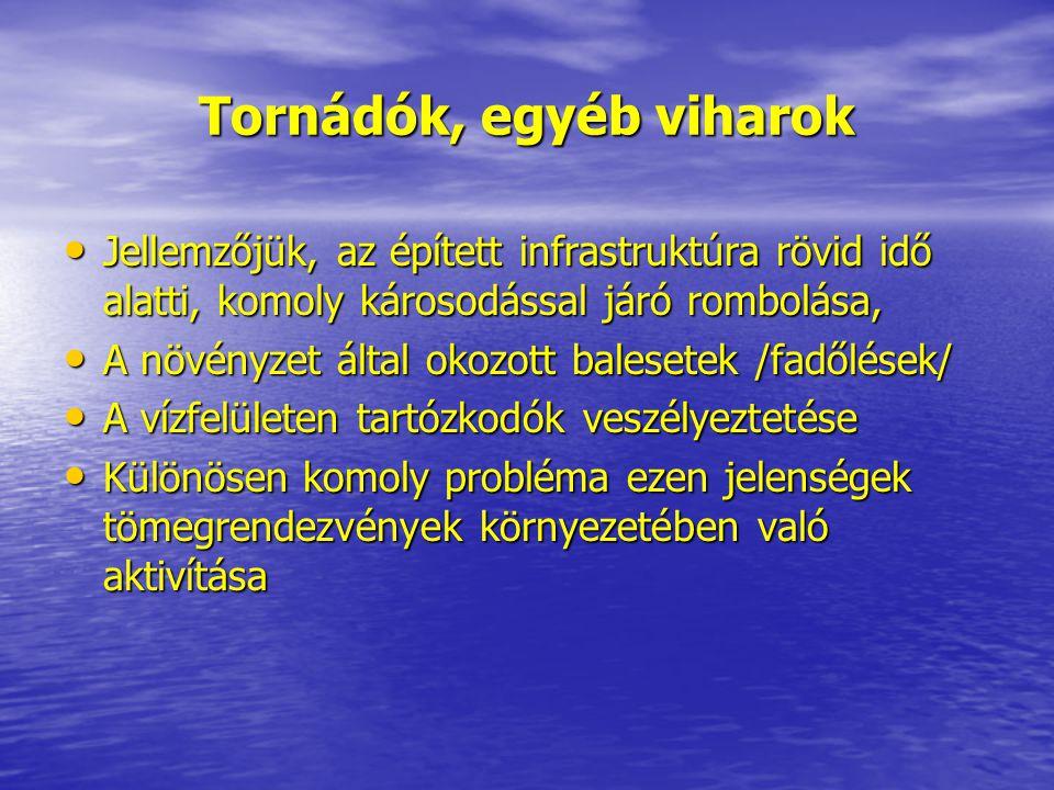 Tornádók, egyéb viharok • Jellemzőjük, az épített infrastruktúra rövid idő alatti, komoly károsodással járó rombolása, • A növényzet által okozott bal