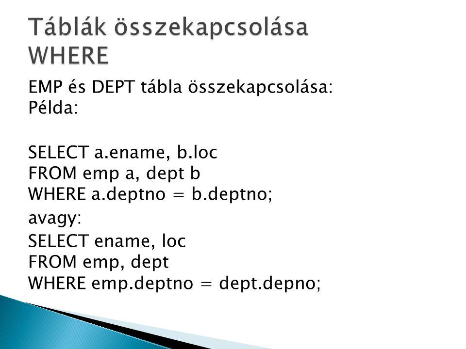 Select dolgozo.ename as Dolgozó neve , fonok.ename as Főnök neve FROM emp dolgozo, emp fonok WHERE dolgozo.mgr = fonok.empno(+) AND dolgozo.deptno IN (Select deptno from dept where loc = NEW YORK ); A (+) hatására a rendszer úgy kezeli a főnök táblát, mintha lenne egy sor, ami csupa NULL- ból áll.
