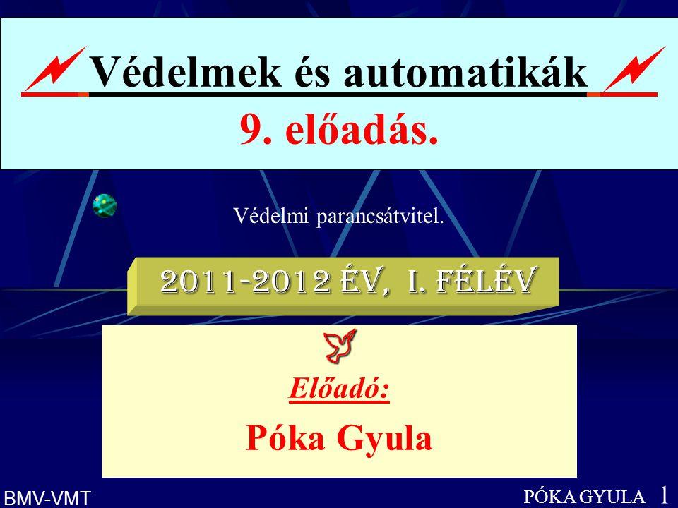 Védelmi parancsátvitel.  Védelmek és automatikák  9. előadás. PÓKA GYULA 1 BMV-VMT  Előadó: Póka Gyula 2011-2012 év, I. félév