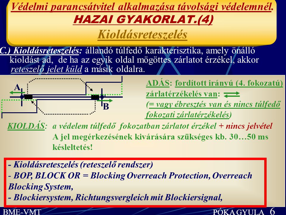 Védelmi parancsátvitel alkalmazása távolsági védelemnél (összefoglalás) HAZAI GYAKORLAT (1-4) BME-VMT PÓKA GYULA 7 B.) Kioldásengedélyezés: túlfedő karakterisztika, amely nem ad önálló kiol- dást, de ha a másik oldal túlfedésben érzékeli a zárlatot, és ezért engedélyező parancsot küld erre az oldalra, ez az oldal túlfedésben kiold + Echo C.) Kioldásreteszelés: túlfedő karakterisztika, amely önálló kioldást ad, de ha egyik oldal mögöttes zárlatot érzékel, reteszelő jelet küld a másik oldalra.