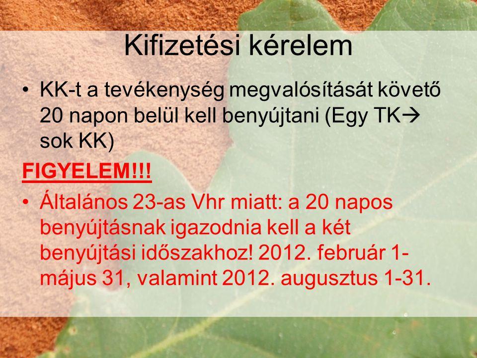 Kifizetési kérelem •KK-t a tevékenység megvalósítását követő 20 napon belül kell benyújtani (Egy TK  sok KK) FIGYELEM!!.