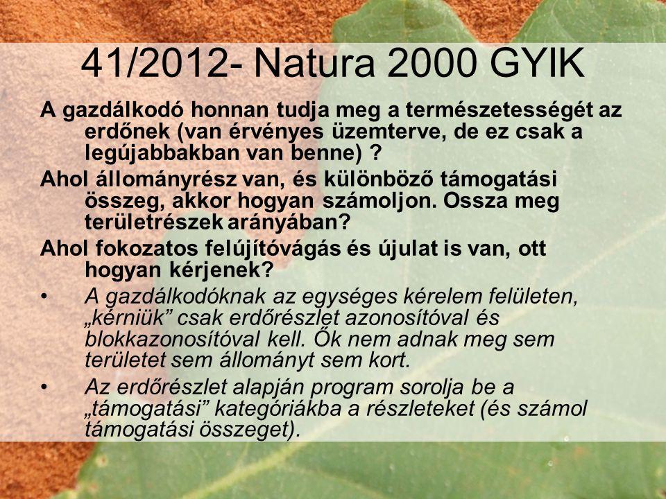 41/2012- Natura 2000 GYIK A gazdálkodó honnan tudja meg a természetességét az erdőnek (van érvényes üzemterve, de ez csak a legújabbakban van benne) .
