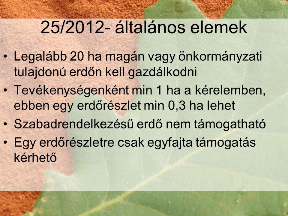 25/2012- általános elemek •Legalább 20 ha magán vagy önkormányzati tulajdonú erdőn kell gazdálkodni •Tevékenységenként min 1 ha a kérelemben, ebben egy erdőrészlet min 0,3 ha lehet •Szabadrendelkezésű erdő nem támogatható •Egy erdőrészletre csak egyfajta támogatás kérhető