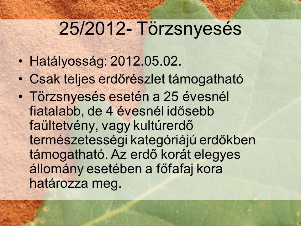 25/2012- Törzsnyesés •Hatályosság: 2012.05.02.