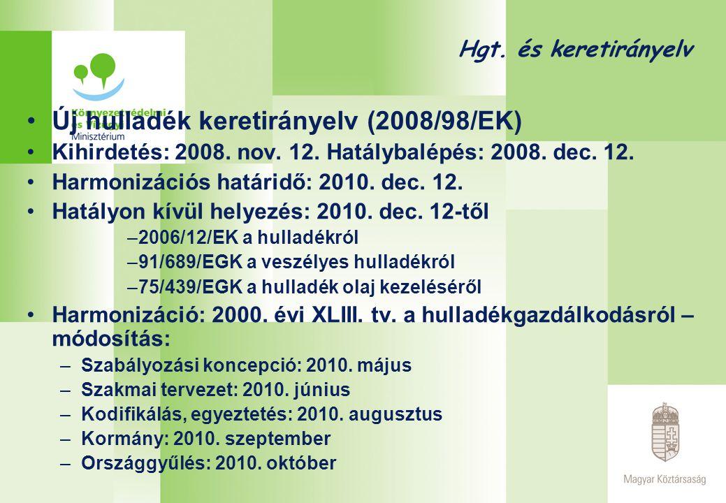 Hgt. és keretirányelv •Új hulladék keretirányelv (2008/98/EK) •Kihirdetés: 2008. nov. 12. Hatálybalépés: 2008. dec. 12. •Harmonizációs határidő: 2010.
