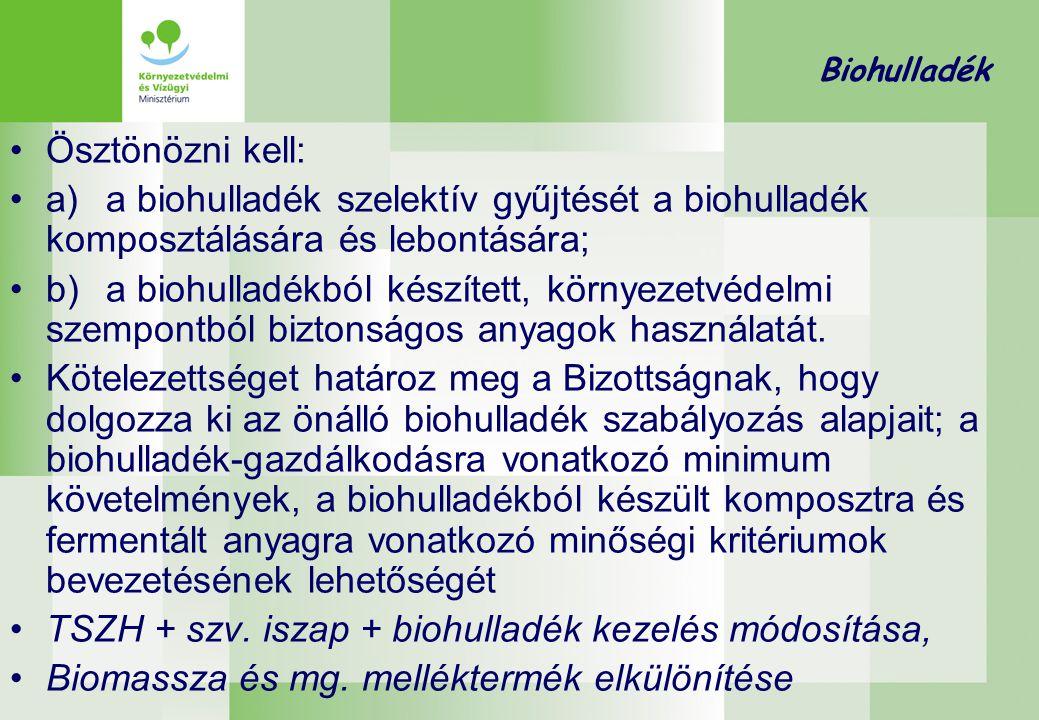 Biohulladék •Ösztönözni kell: •a)a biohulladék szelektív gyűjtését a biohulladék komposztálására és lebontására; •b)a biohulladékból készített, környe