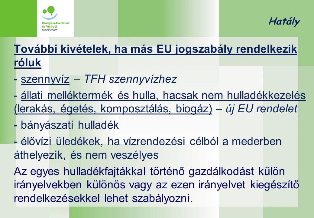 Hatály További kivételek, ha más EU jogszabály rendelkezik róluk - szennyvíz – TFH szennyvízhez - állati melléktermék és hulla, hacsak nem hulladékkez