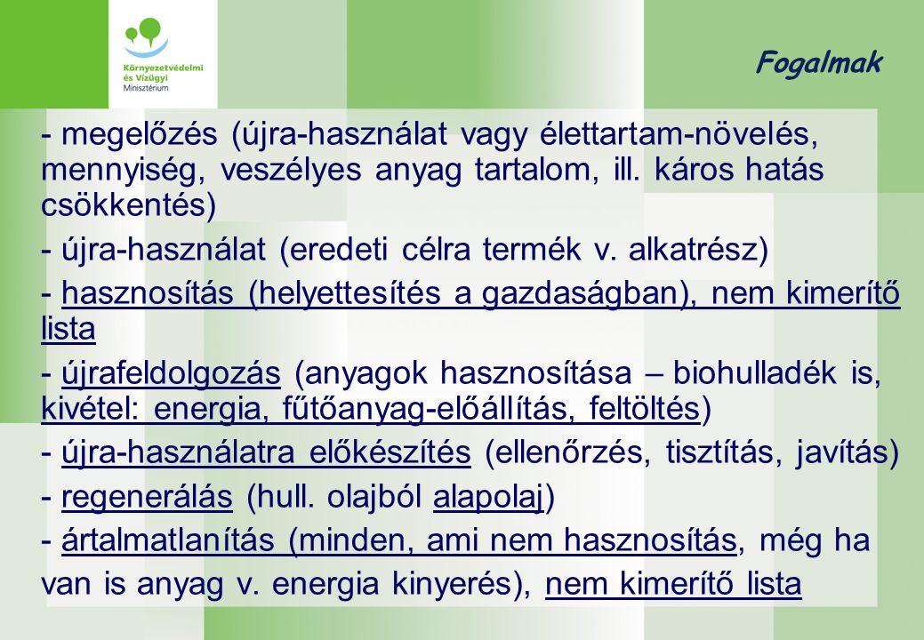 Fogalmak - megelőzés (újra-használat vagy élettartam-növelés, mennyiség, veszélyes anyag tartalom, ill. káros hatás csökkentés) - újra-használat (ered