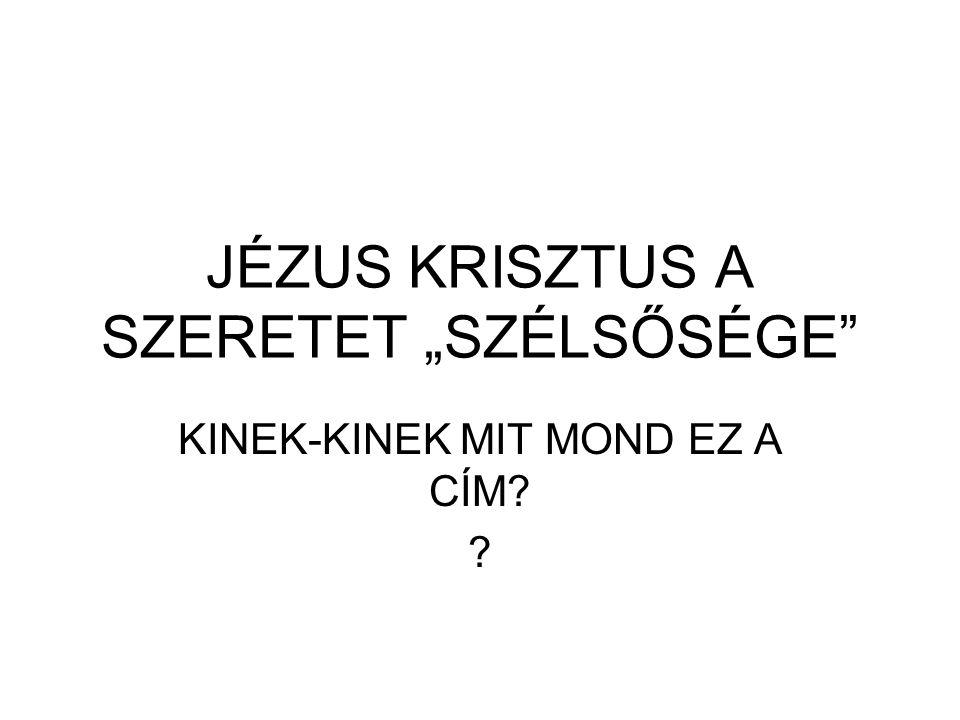 """JÉZUS KRISZTUS A SZERETET """"SZÉLSŐSÉGE"""" KINEK-KINEK MIT MOND EZ A CÍM? ?"""