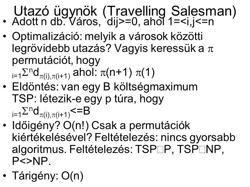 Utazó ügynök (Travelling Salesman) •Adott n db.