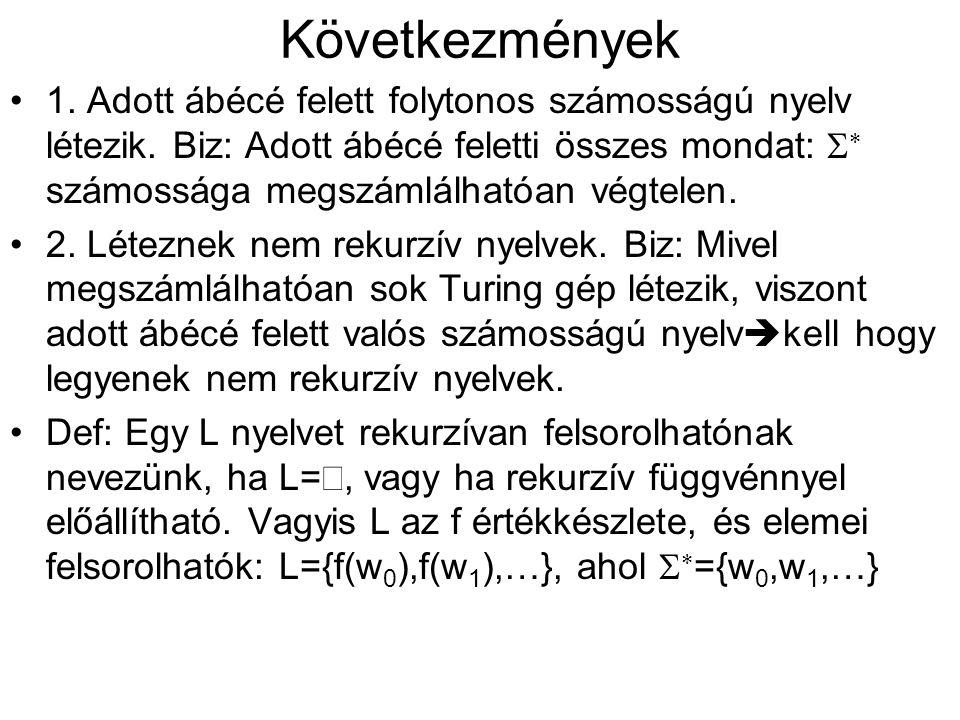 Következmények •1.Adott ábécé felett folytonos számosságú nyelv létezik.