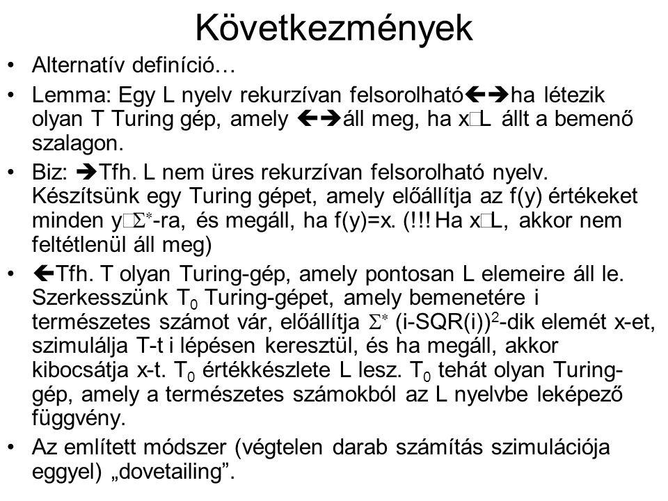 Következmények •Alternatív definíció… •Lemma: Egy L nyelv rekurzívan felsorolható  ha létezik olyan T Turing gép, amely  áll meg, ha x  L állt a bemenő szalagon.