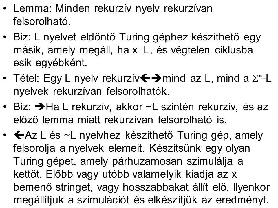 •Lemma: Minden rekurzív nyelv rekurzívan felsorolható.