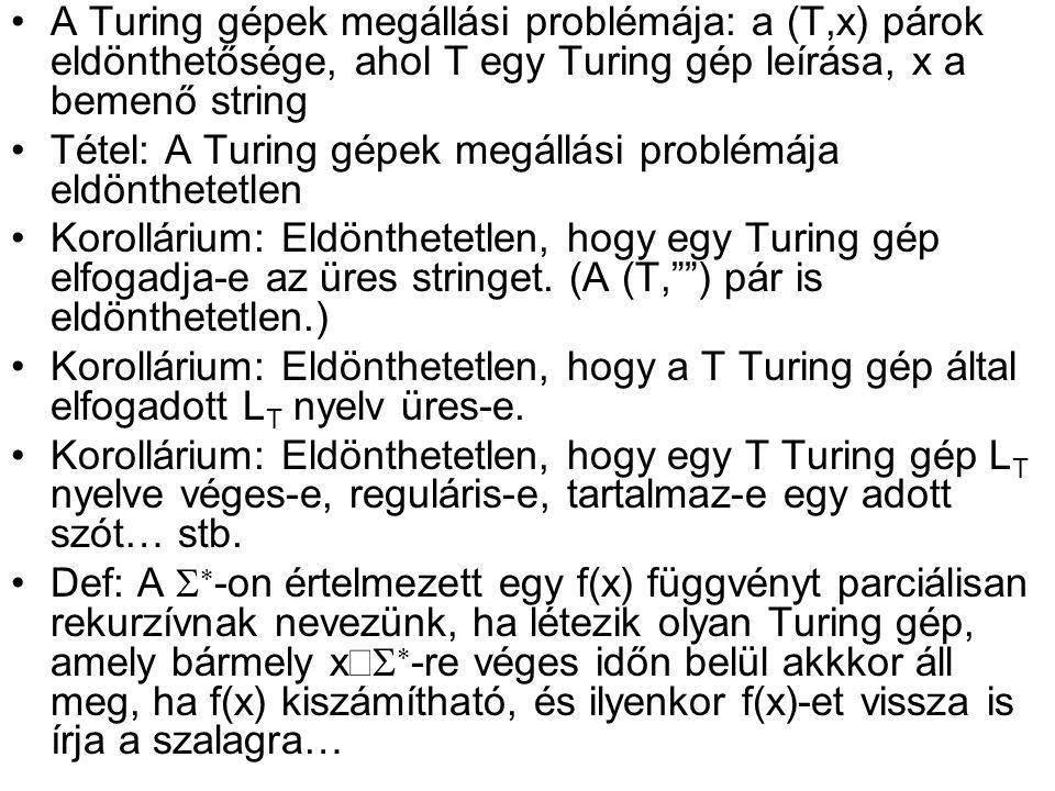 •A Turing gépek megállási problémája: a (T,x) párok eldönthetősége, ahol T egy Turing gép leírása, x a bemenő string •Tétel: A Turing gépek megállási problémája eldönthetetlen •Korollárium: Eldönthetetlen, hogy egy Turing gép elfogadja-e az üres stringet.