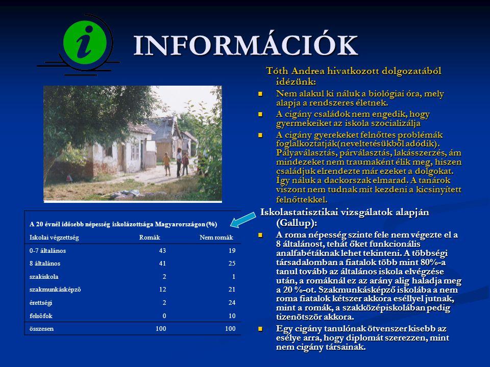 INFORMÁCIÓK  Az általunk készített felmérés alapján:  A romák rendelkeznek ismerettel a helyi közéleti kérdésekkel és a roma kisebbségi önkormányzattal kapcsolatban.
