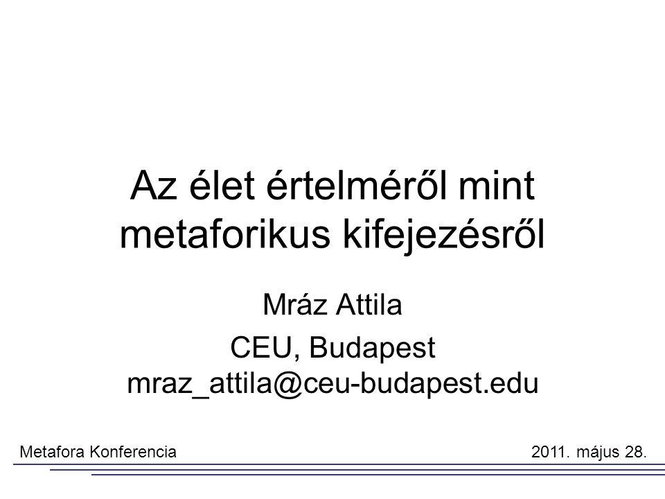 Az élet értelméről mint metaforikus kifejezésről Mráz Attila CEU, Budapest mraz_attila@ceu-budapest.edu Metafora Konferencia 2011.