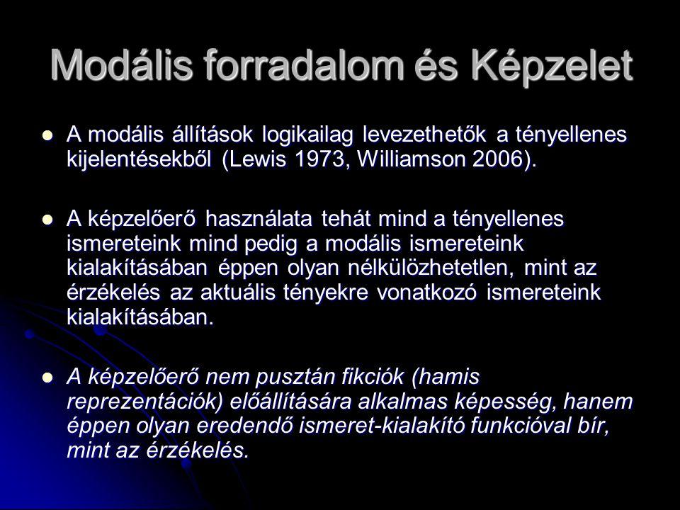Modális forradalom és Képzelet  A modális állítások logikailag levezethetők a tényellenes kijelentésekből (Lewis 1973, Williamson 2006).  A képzelőe