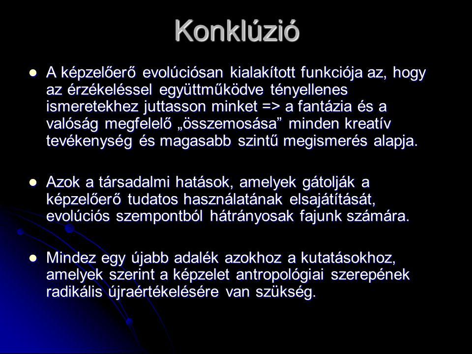 Konklúzió  A képzelőerő evolúciósan kialakított funkciója az, hogy az érzékeléssel együttműködve tényellenes ismeretekhez juttasson minket => a fantá