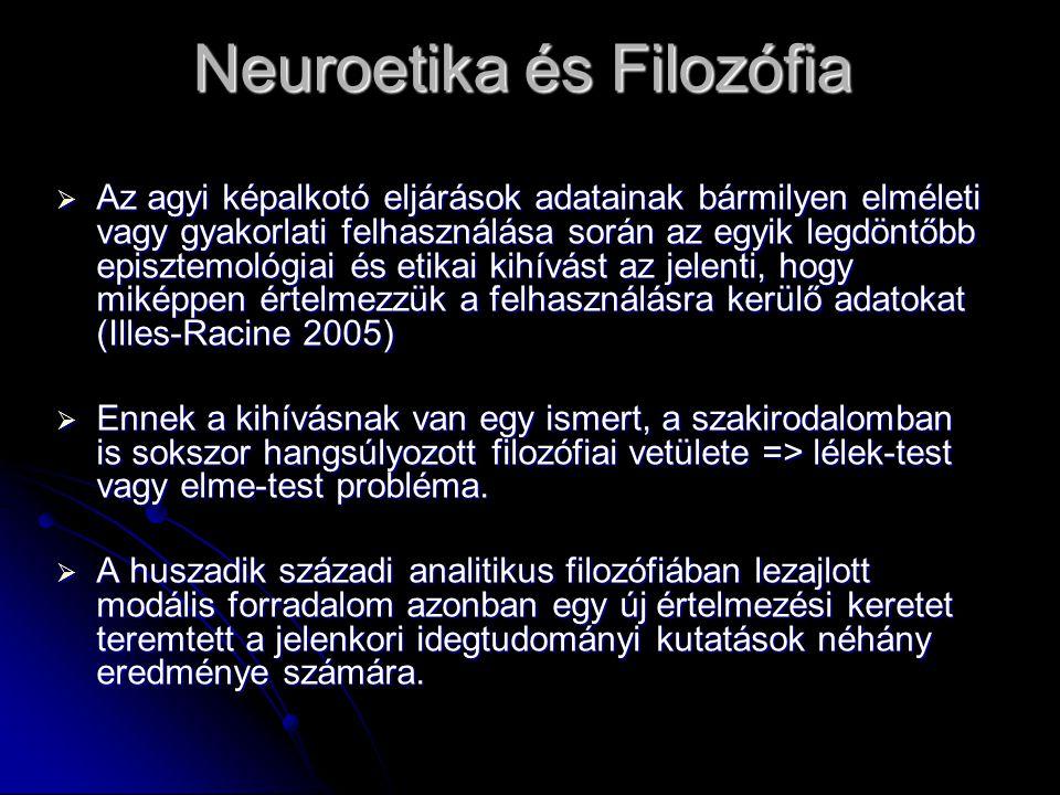 Neuroetika és Filozófia  Az agyi képalkotó eljárások adatainak bármilyen elméleti vagy gyakorlati felhasználása során az egyik legdöntőbb episztemoló