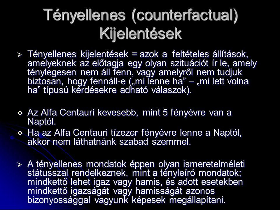 Tényellenes (counterfactual) Kijelentések  Tényellenes kijelentések = azok a feltételes állítások, amelyeknek az előtagja egy olyan szituációt ír le,