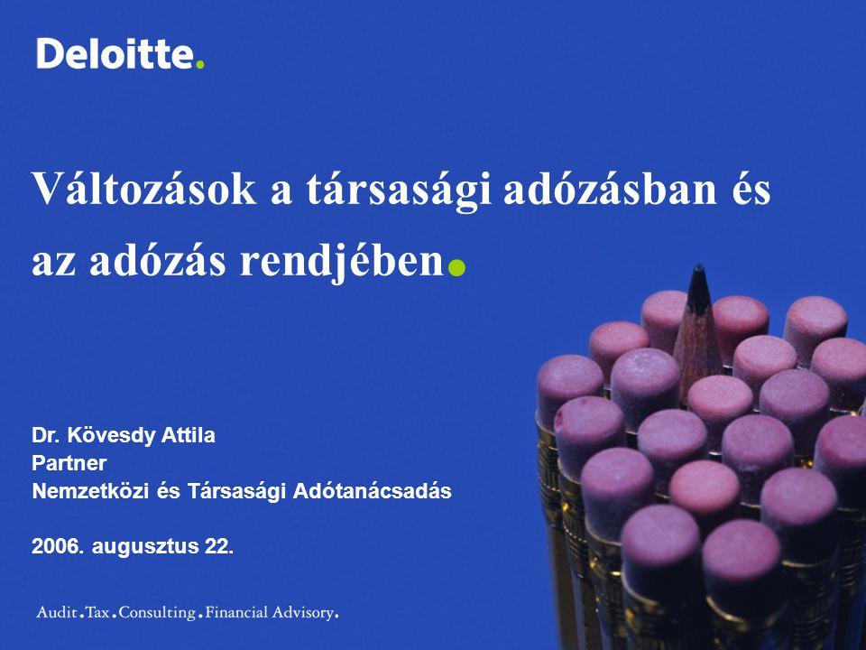 Változások a társasági adózásban és az adózás rendjében. Dr. Kövesdy Attila Partner Nemzetközi és Társasági Adótanácsadás 2006. augusztus 22.