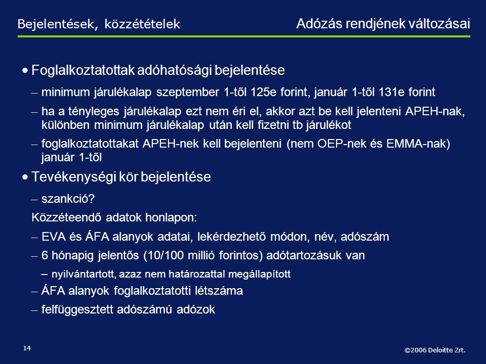 ©2006 Deloitte Zrt. 14 • Foglalkoztatottak adóhatósági bejelentése – minimum járulékalap szeptember 1-től 125e forint, január 1-től 131e forint – ha a
