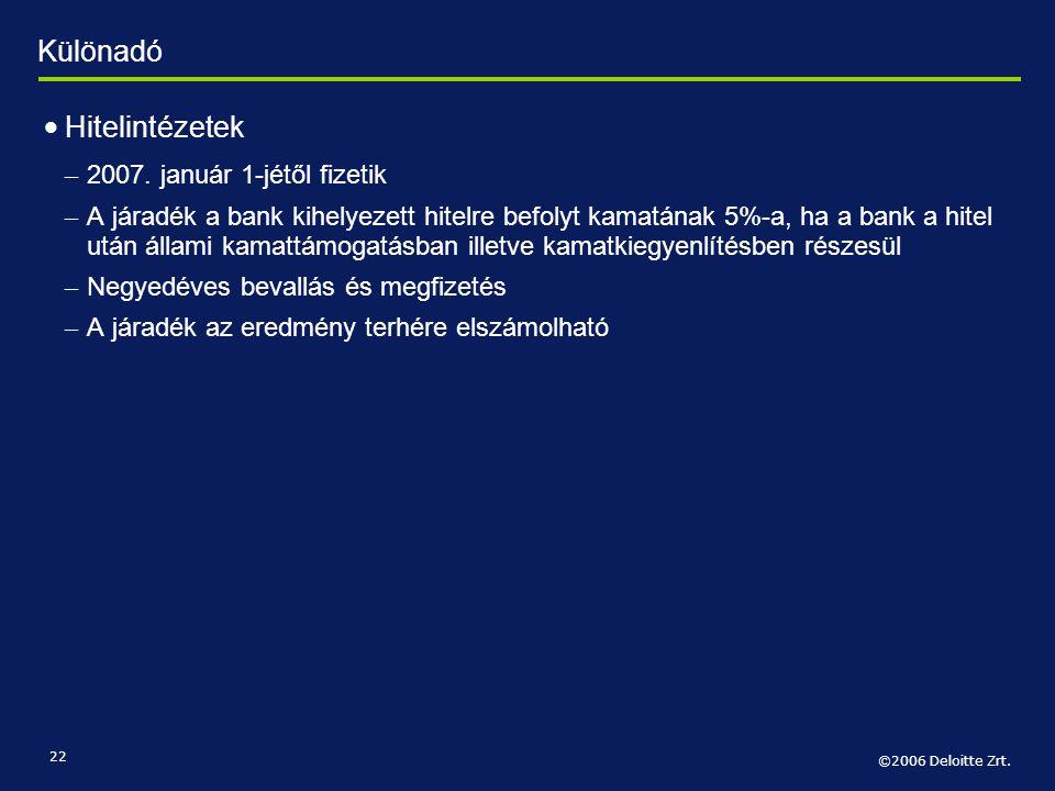 ©2006 Deloitte Zrt. 22 • Hitelintézetek – 2007. január 1-jétől fizetik – A járadék a bank kihelyezett hitelre befolyt kamatának 5%-a, ha a bank a hite