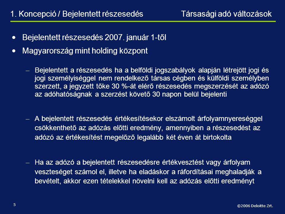 ©2006 Deloitte Zrt. 5 1. Koncepció / Bejelentett részesedésTársasági adó változások • Bejelentett részesedés 2007. január 1-től • Magyarország mint ho