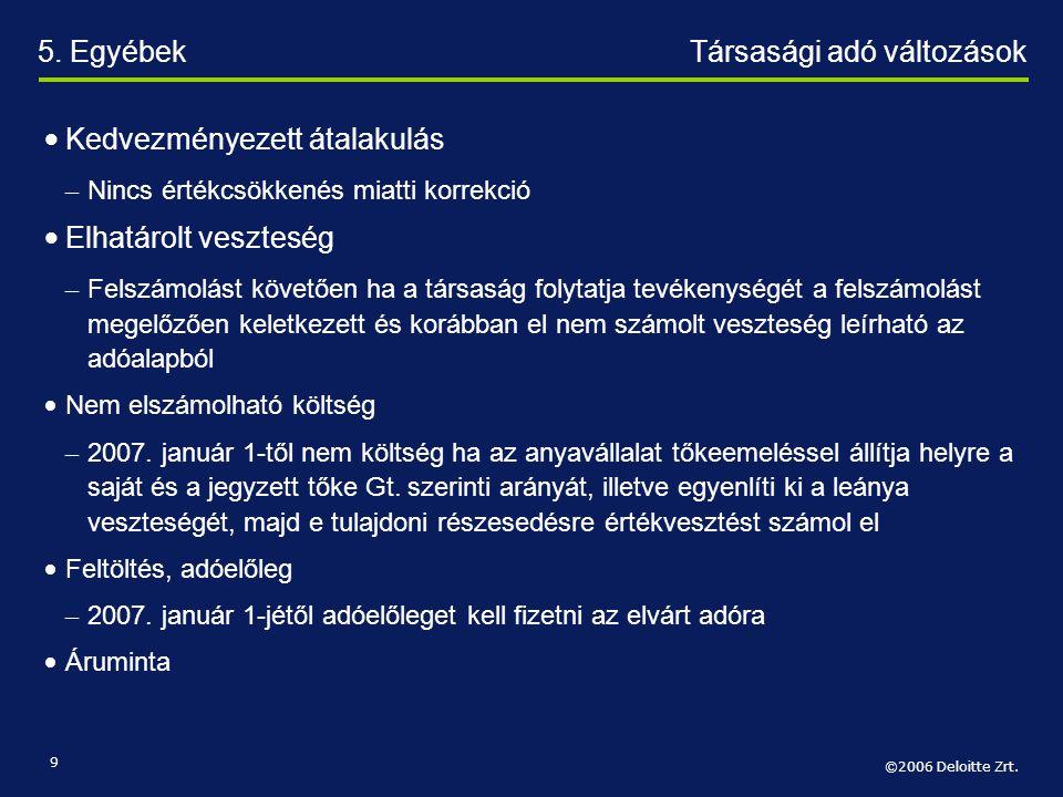 ©2006 Deloitte Zrt. 9 • Kedvezményezett átalakulás – Nincs értékcsökkenés miatti korrekció • Elhatárolt veszteség – Felszámolást követően ha a társasá