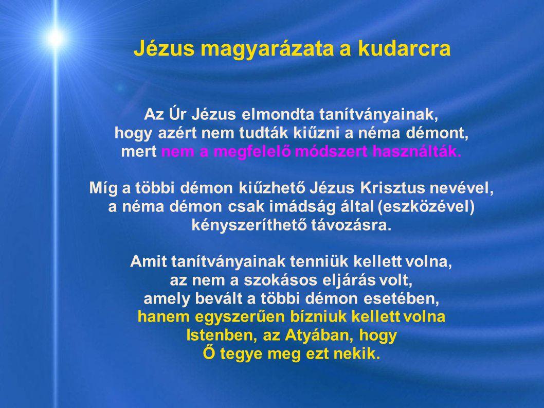 Jézus magyarázata a kudarcra Az Úr Jézus elmondta tanítványainak, hogy azért nem tudták kiűzni a néma démont, mert nem a megfelelő módszert használták