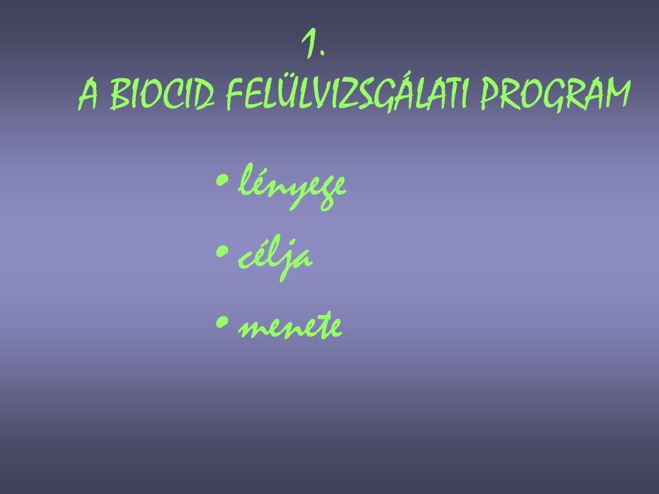 Az Európai Unió biocid-felülvizsgálati programja (1) •Kezdő lépése az 1998-ban megjelent Biocid Irányelv volt → ennek elveit honosította a 38/2003.