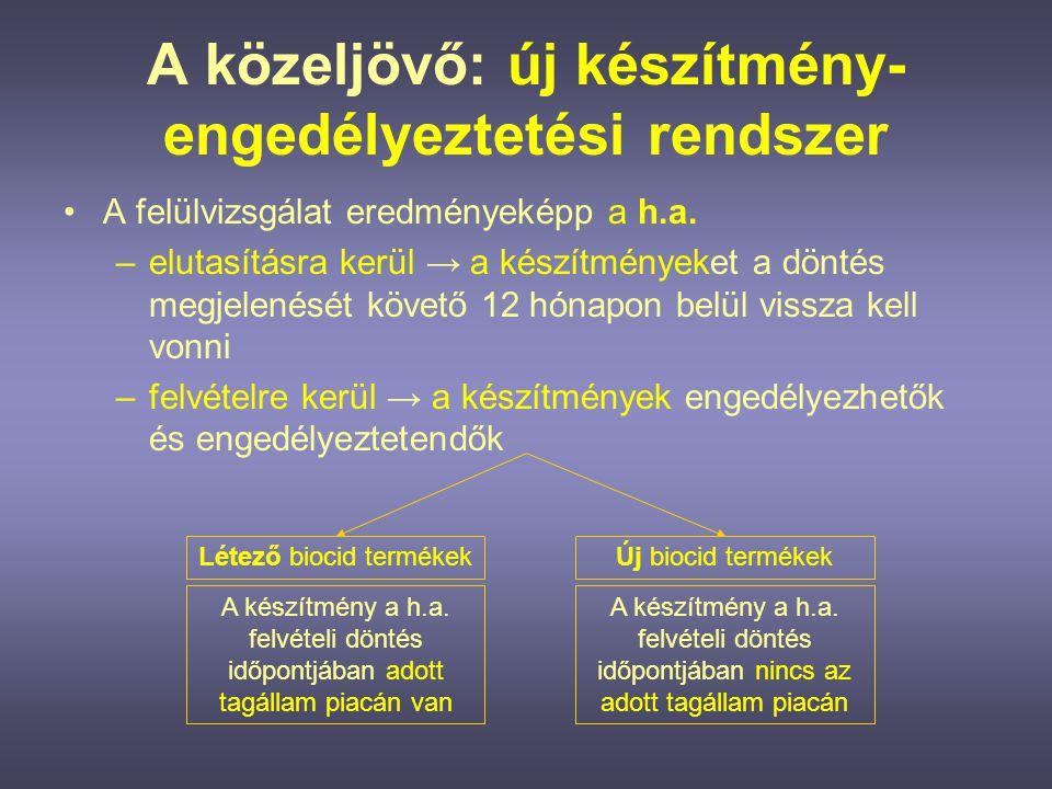 A létező biocid termékekre vonatkozó eljárás (1.) •A h.a.