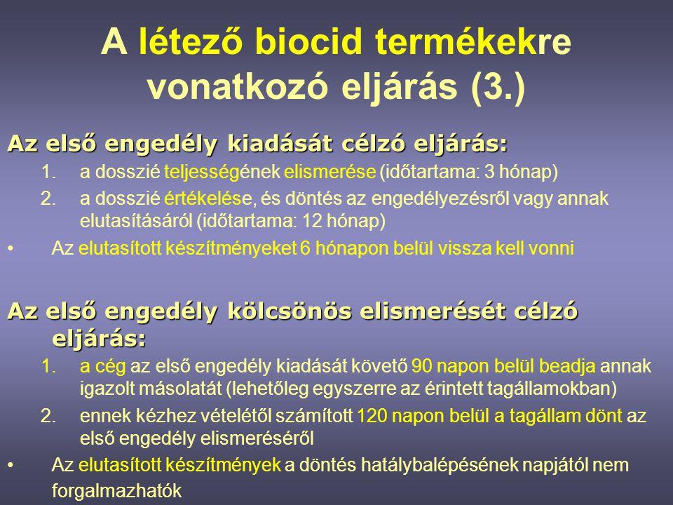 Az új biocid termékre vonatkozó eljárás •A dokumentáció a h.a.