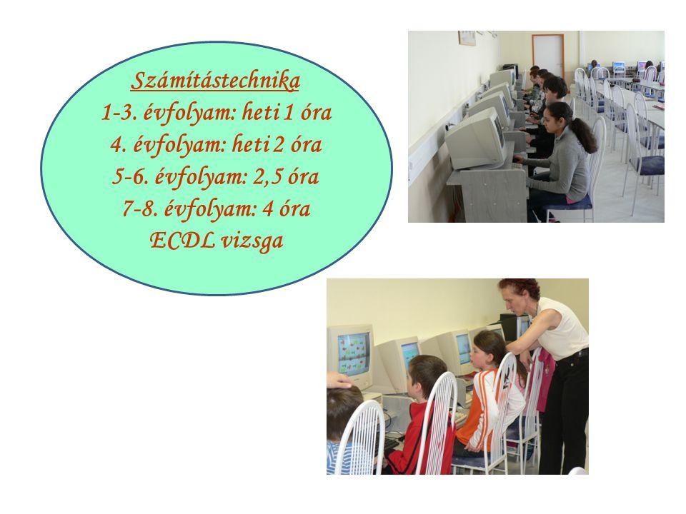 Számítástechnika 1-3. évfolyam: heti 1 óra 4. évfolyam: heti 2 óra 5-6. évfolyam: 2,5 óra 7-8. évfolyam: 4 óra ECDL vizsga