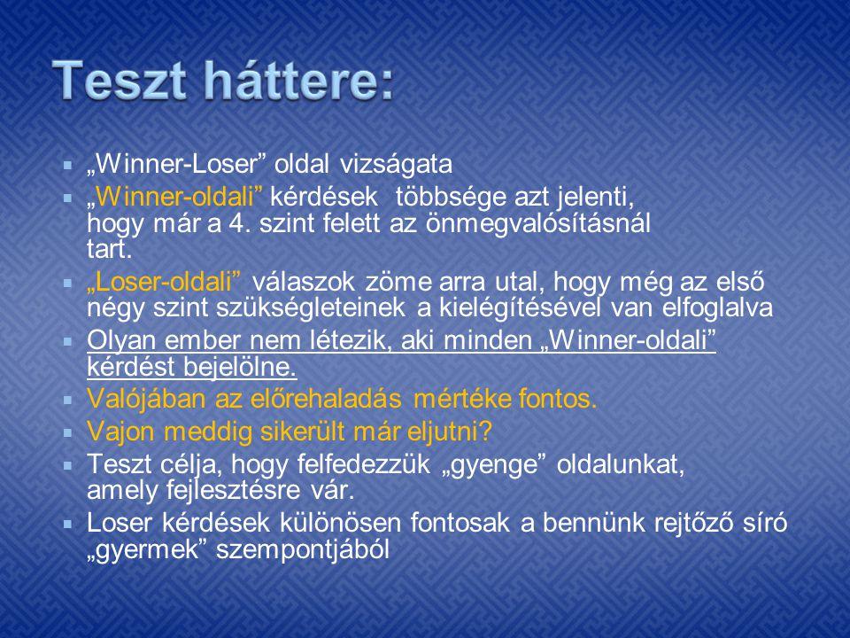 """ """"Winner-Loser"""" oldal vizságata  """"Winner-oldali"""" kérdések többsége azt jelenti, hogy már a 4. szint felett az önmegvalósításnál tart.  """"Loser-oldal"""
