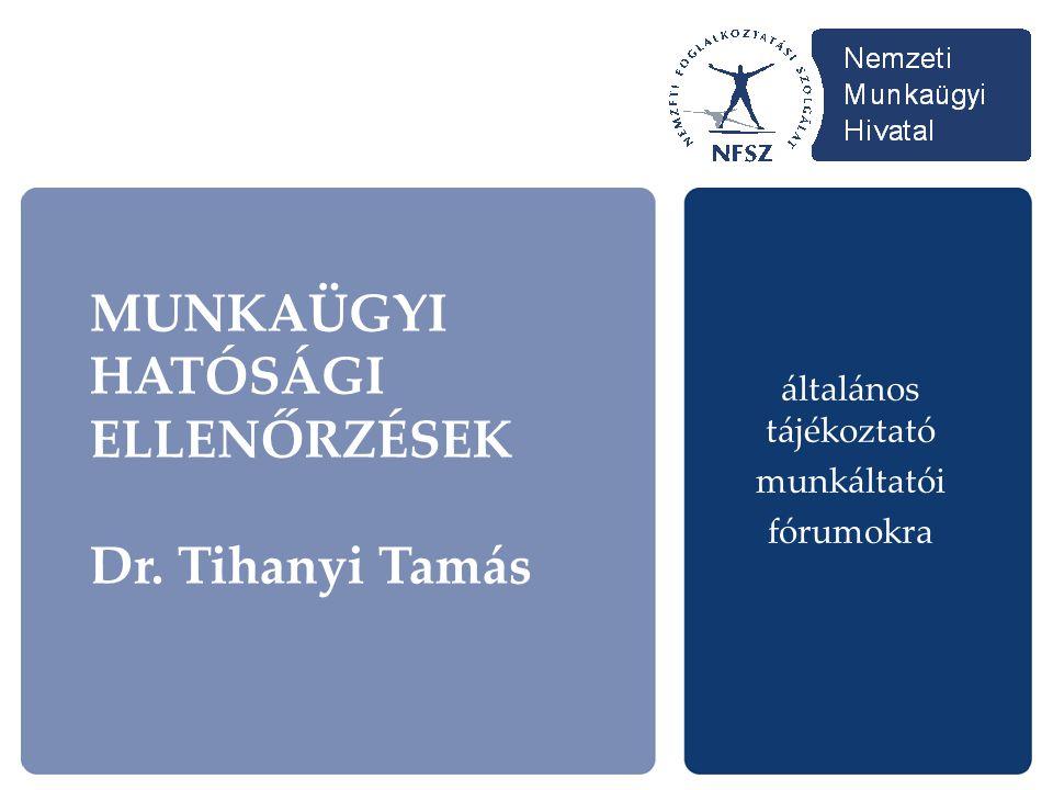 MUNKAÜGYI HATÓSÁGI ELLENŐRZÉSEK Dr. Tihanyi Tamás általános tájékoztató munkáltatói fórumokra