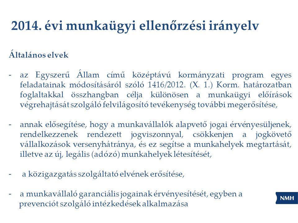 2014. évi munkaügyi ellenőrzési irányelv Általános elvek -az Egyszerű Állam című középtávú kormányzati program egyes feladatainak módosításáról szóló