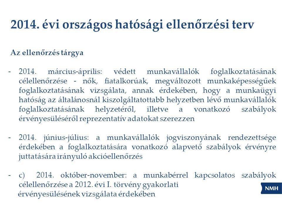 2014. évi országos hatósági ellenőrzési terv Az ellenőrzés tárgya -2014. március-április: védett munkavállalók foglalkoztatásának célellenőrzése - nők