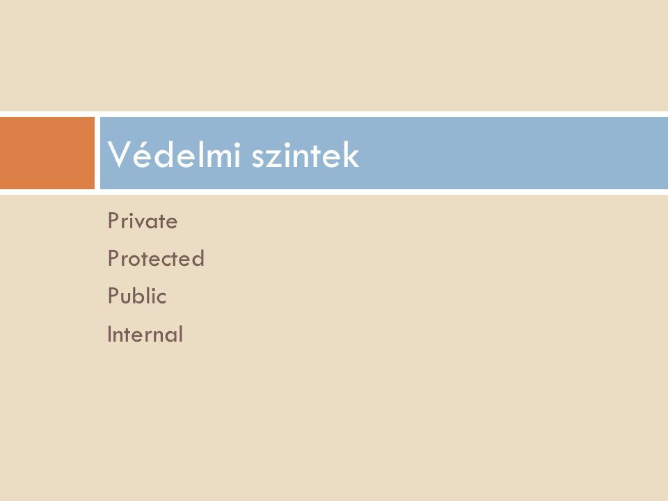 Private Protected Public Internal Védelmi szintek