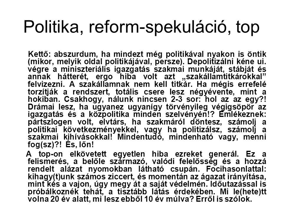 Politika, reform-spekuláció, top Kettő: abszurdum, ha mindezt még politikával nyakon is öntik (mikor, melyik oldal politikájával, persze).
