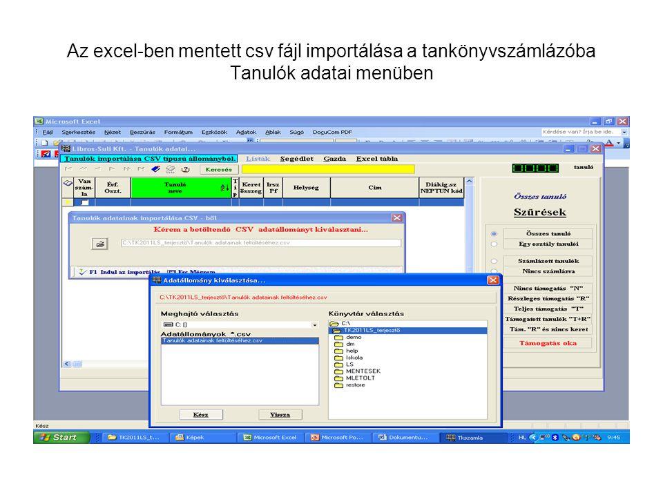 Az excel-ben mentett csv fájl importálása a tankönyvszámlázóba Tanulók adatai menüben