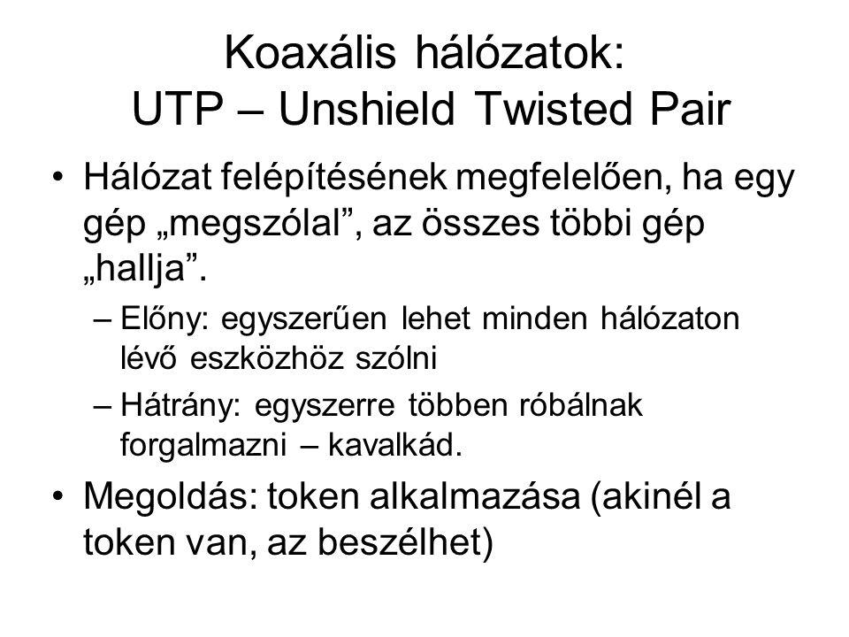 """Koaxális hálózatok: UTP – Unshield Twisted Pair •Hálózat felépítésének megfelelően, ha egy gép """"megszólal"""", az összes többi gép """"hallja"""". –Előny: egys"""