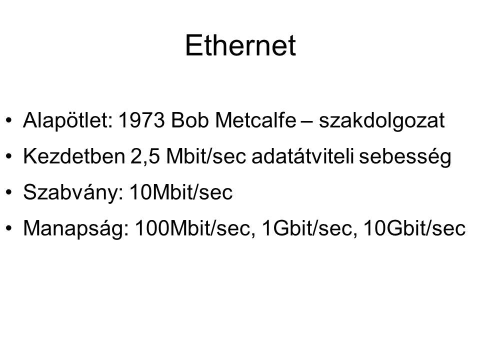 Ethernet •Alapötlet: 1973 Bob Metcalfe – szakdolgozat •Kezdetben 2,5 Mbit/sec adatátviteli sebesség •Szabvány: 10Mbit/sec •Manapság: 100Mbit/sec, 1Gbi