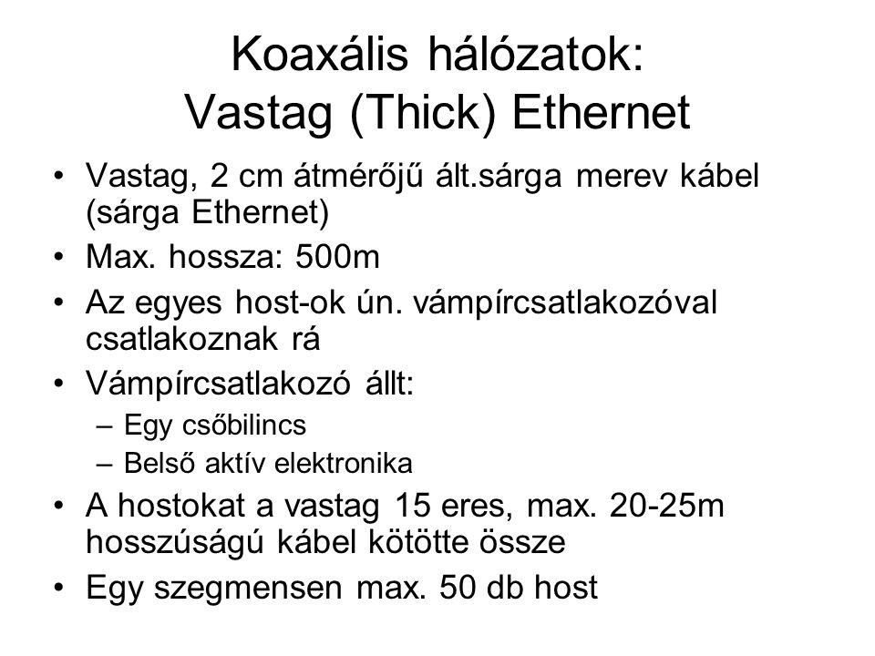 Koaxális hálózatok: Vastag (Thick) Ethernet •Vastag, 2 cm átmérőjű ált.sárga merev kábel (sárga Ethernet) •Max. hossza: 500m •Az egyes host-ok ún. vám
