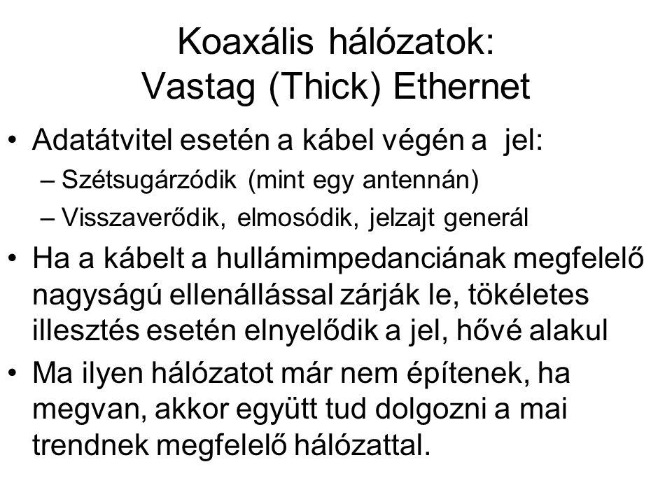 Koaxális hálózatok: Vastag (Thick) Ethernet •Adatátvitel esetén a kábel végén a jel: –Szétsugárzódik (mint egy antennán) –Visszaverődik, elmosódik, je