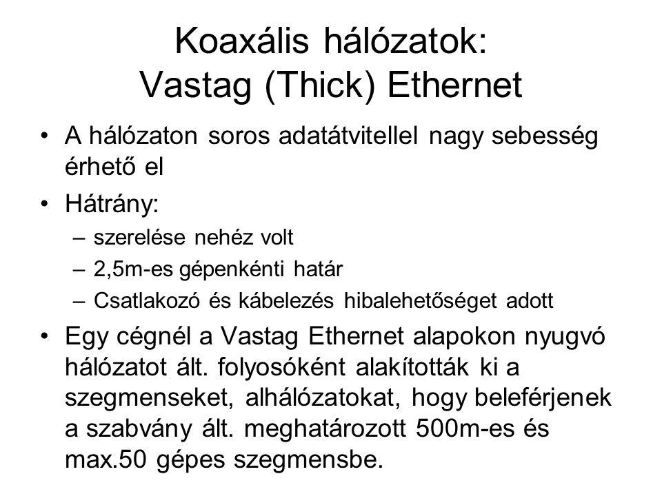 Koaxális hálózatok: Vastag (Thick) Ethernet •A hálózaton soros adatátvitellel nagy sebesség érhető el •Hátrány: –szerelése nehéz volt –2,5m-es gépenké